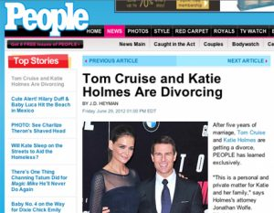 Tom Crusie and Katie Holmes announce divorce on people.com